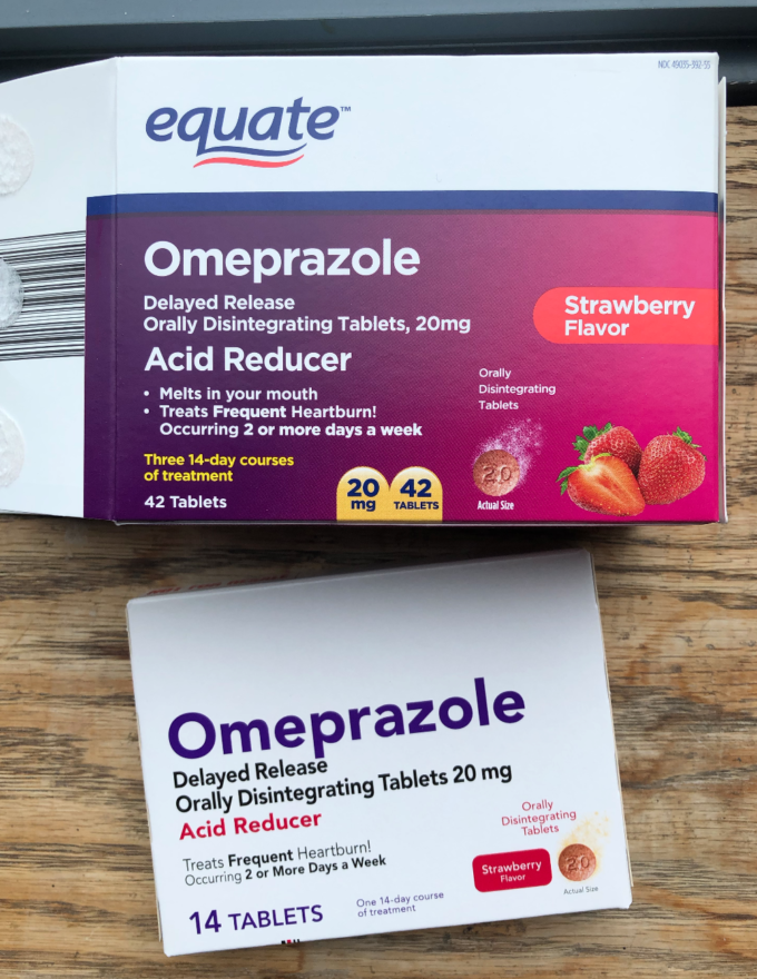 Box of Equate Omeprazole on a wooden counter