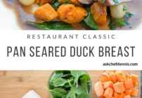Pinterest image for pan seared duck breast