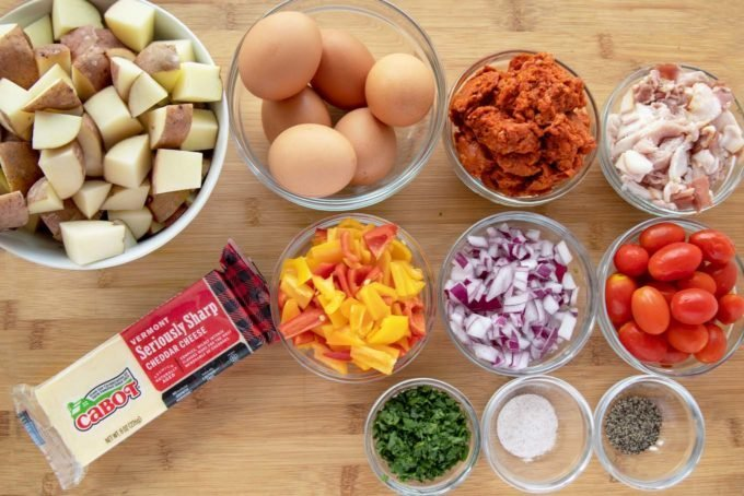 ingredients to make a cheesy skillet breakfast