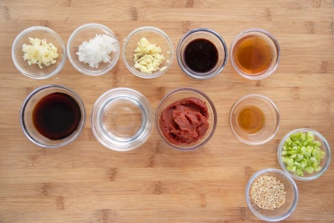 ingredients in glass bowls to make Korean Barbecue sauce