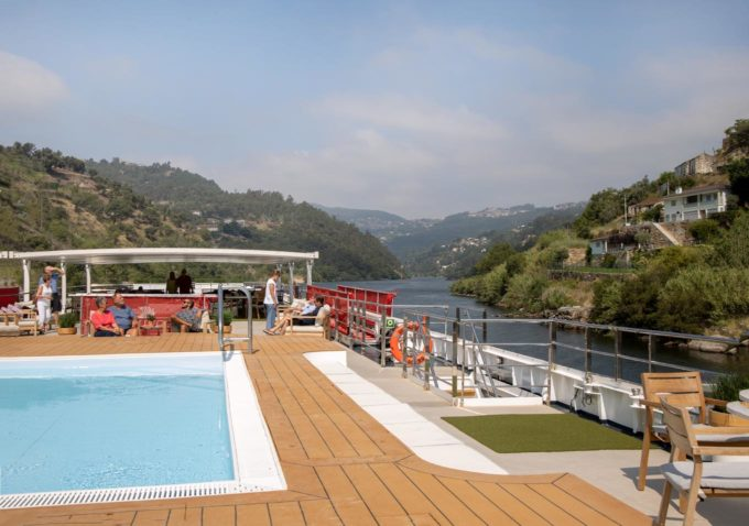Viking Helgrim upper deck with pool in foreground with Douro Valley in background