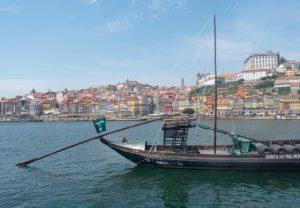 Portuguese boat on the douro river in Porto, Portugal