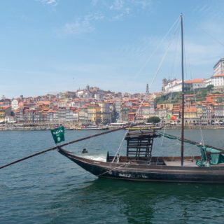 Portuguese boat on the douro river in Porto, Portugal