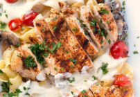 pinterest image for grilled chicken alfredo