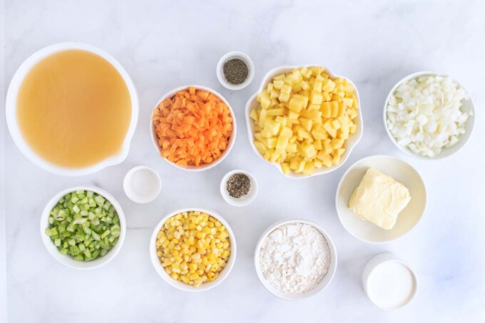 overhead view of ingredients to make corn chowder