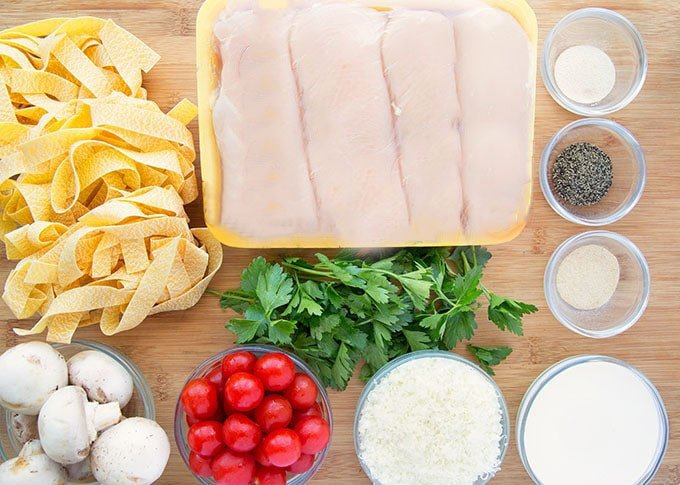 ingredients to make grilled chicken with pappardelle alfredo