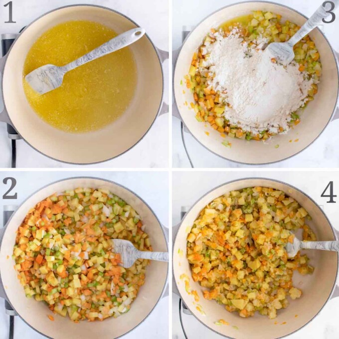 four images showing how to start making corn chowder
