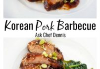 Two Pictures of Korean Pork Barbecue on white plates with sauteed spinach on the side