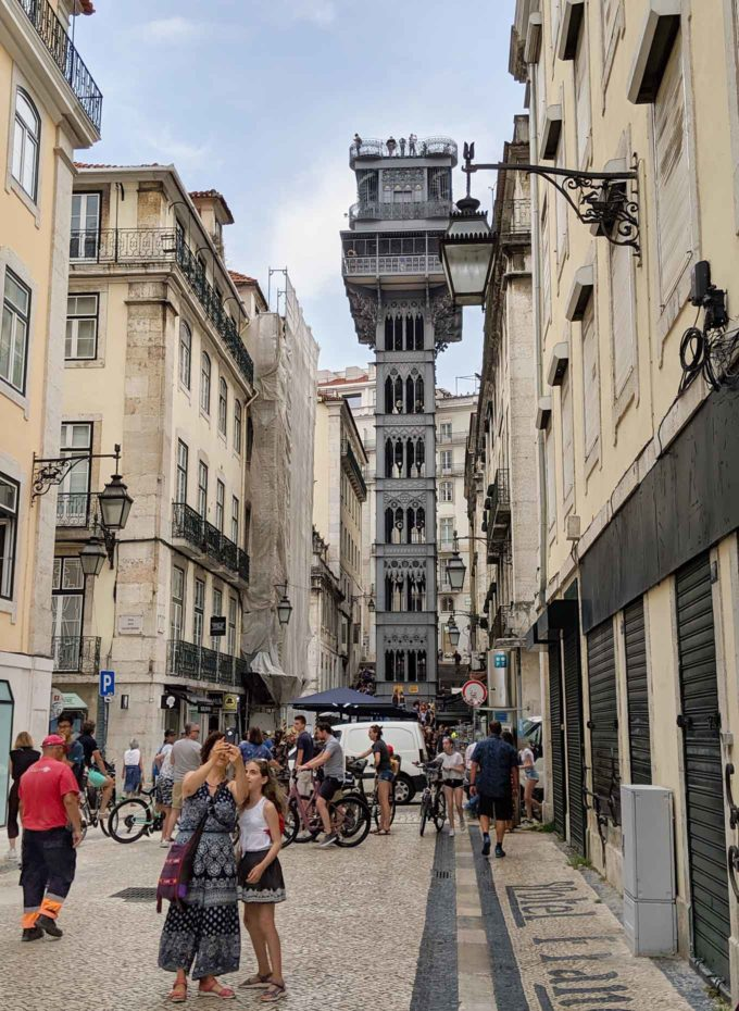 view down the street to an outside elevator in Lisbon, Portugal