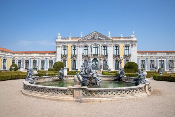 Royal Palace with a fountain in front in Sintra, Portugal
