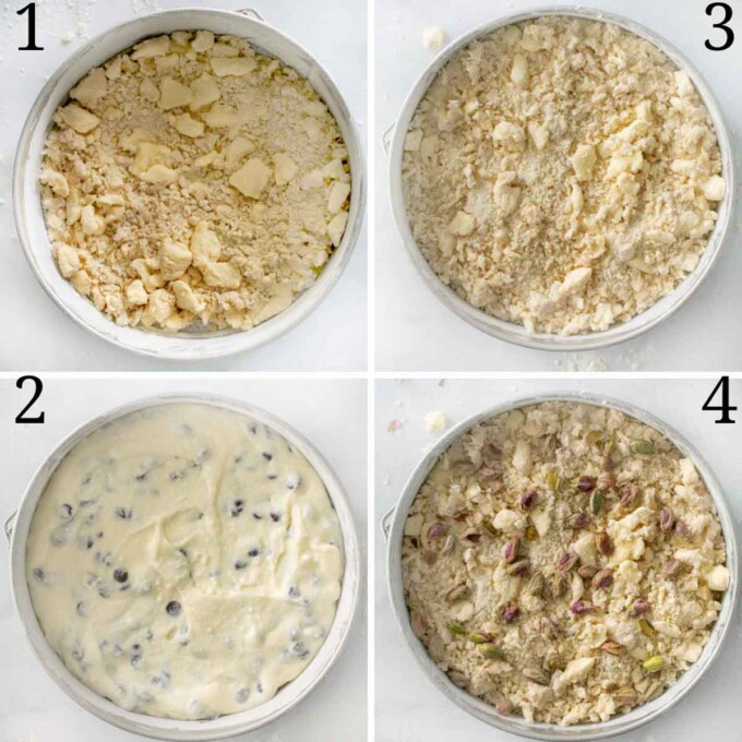 four images showing he assembly of the cake in the springform pan