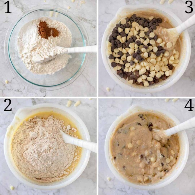4 step by step pictures making cannoli pound cake