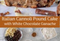 pinterest image for cannoli pound cake