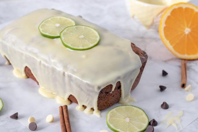 whole cannoli pound cake with white chocolate ganache