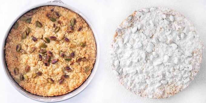 two images showing finished cake process