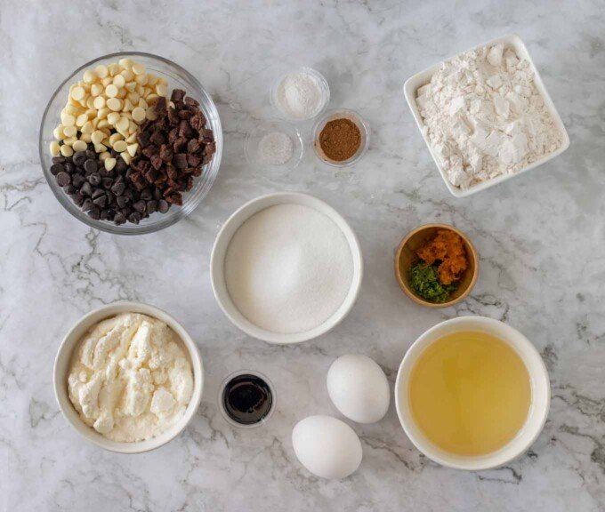 overhead view of ingredients to make Italian cannoli pound cake
