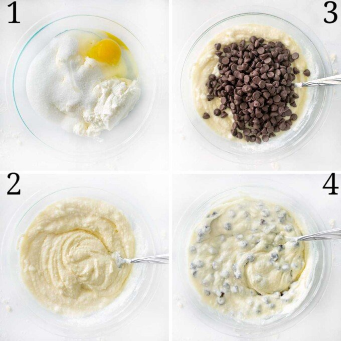 four images showing how to make the ricotta filling