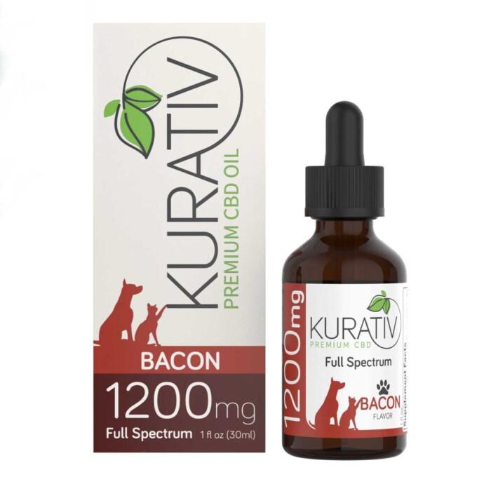 bottle of kurativ cbd oil for pets next to the box