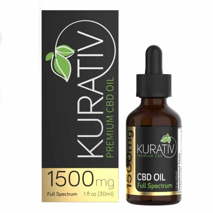 bottle of kurativ cbd oil next to the box