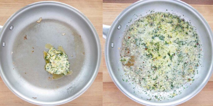 two images showing how to cook the compound butter