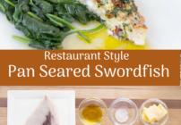Pinterest image for pan roasted swordfish
