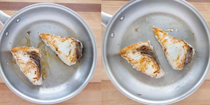 2 images showing how to cook the swordfish