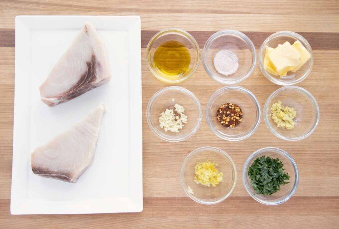 overhead view of ingredients to make pan roasted swordfish