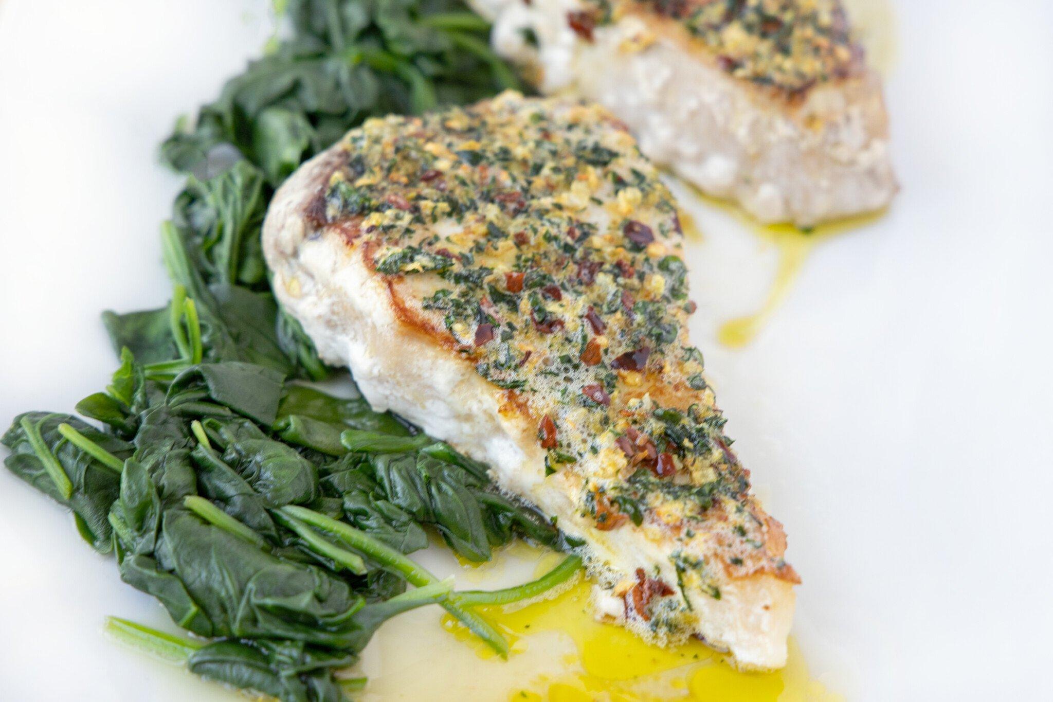 Ginger Garlic Pan Roasted Swordfish | Chef Dennis