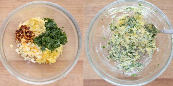 two images showing how to make compound butter