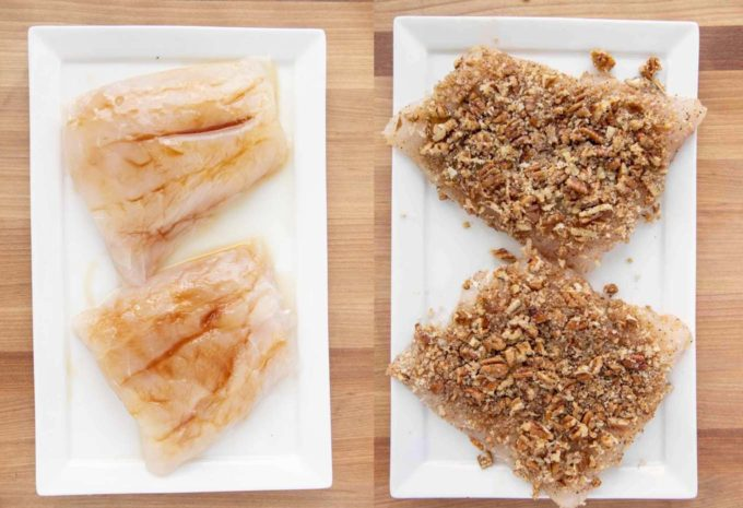 two pictures of two red snapper fillets on a white plate. One with honey coating and the other with the nut coating added to the honey