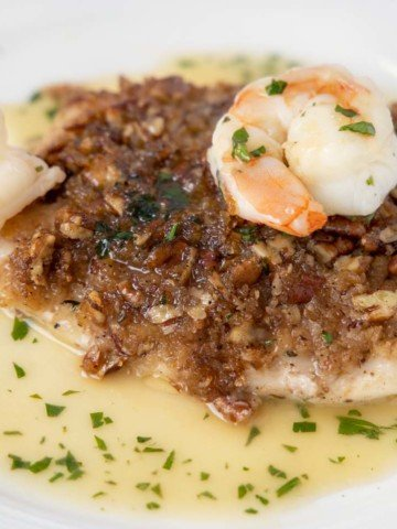 pecan snapper with shrimp on a white plate with margarita sauce