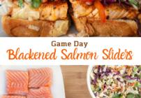 Pinterest image for blackened salmon sliders
