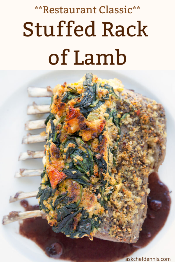 Pinterest image for stuffed rack of lamb
