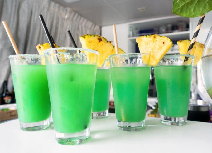 cocktails on board the Deborah
