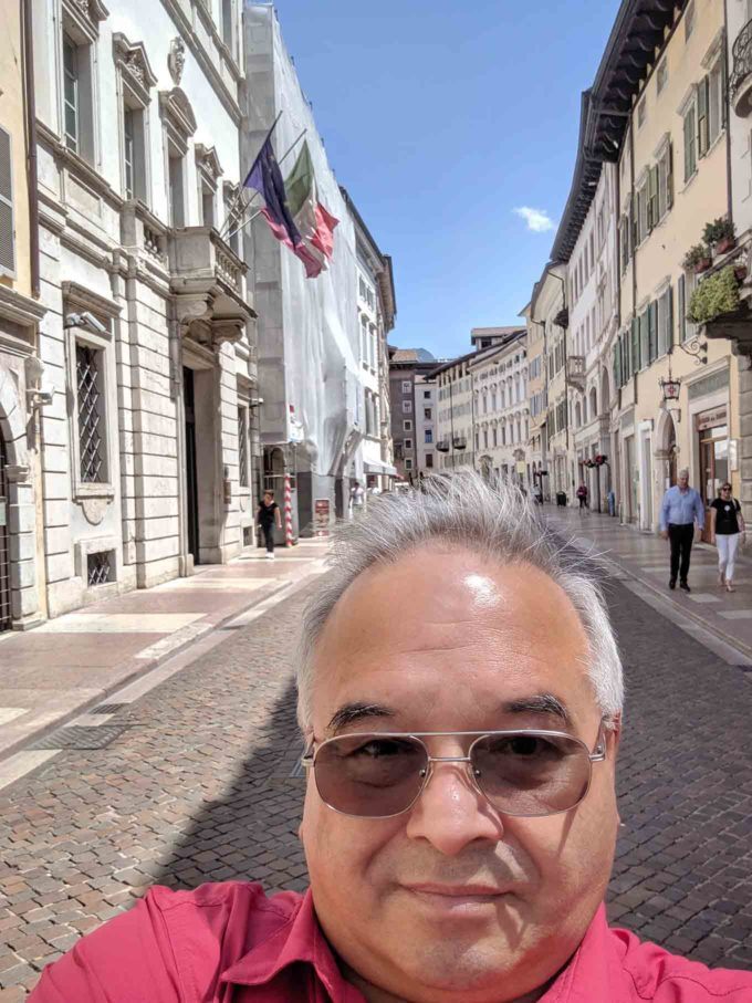 Chef Dennis on a street in Trento, Italy