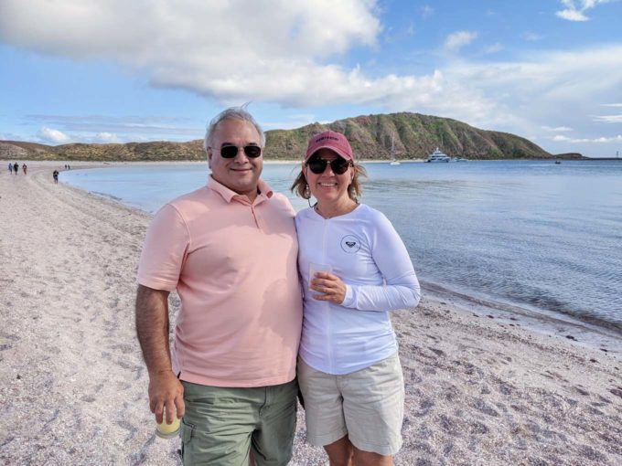 Chef Dennis and Lisa on the beach off the sea of cortez