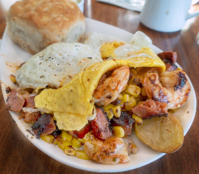 picture of low country scramble with potatoes shrimp and eggs