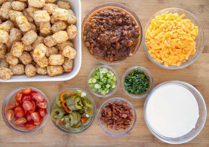 ingredients to make loaded tater tot nachos