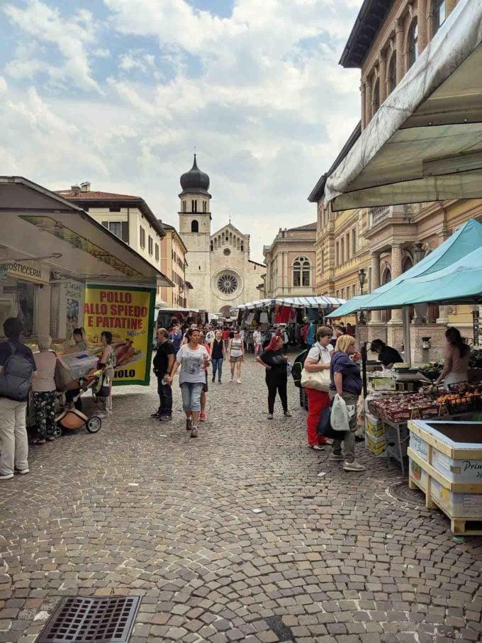 weekly market in Trento Italy