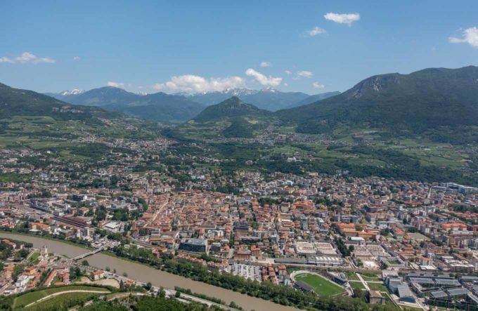 View of Trento from the hill above the town