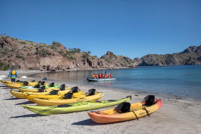 kayaks on the beach on the sea of cortez