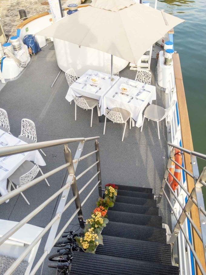 deck on Deborah set up for dinner