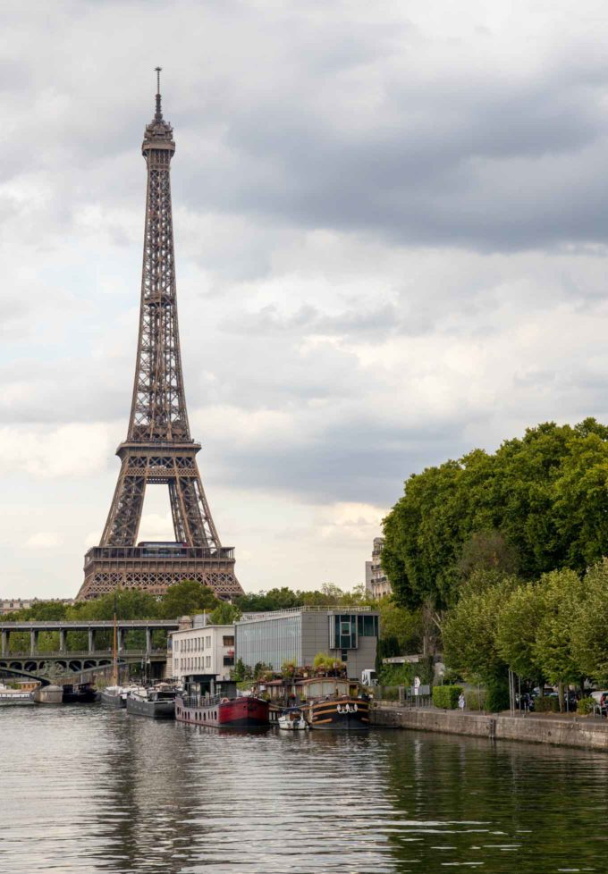 Eiffel Tower from the deck of a river cruise ship