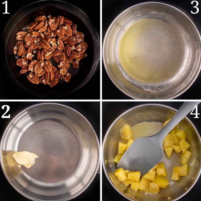 four images showing how to begin making the pecan and fruit sauce