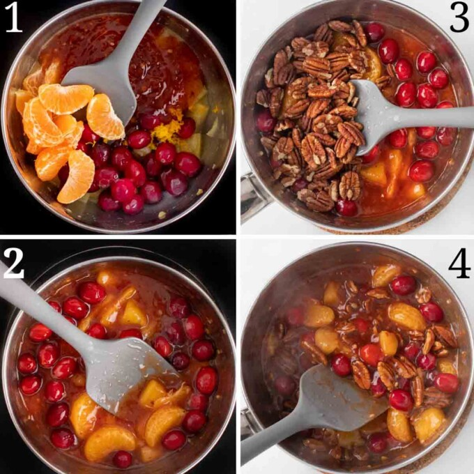 four images showing how to finish the sweet chili pecan fruit sauce