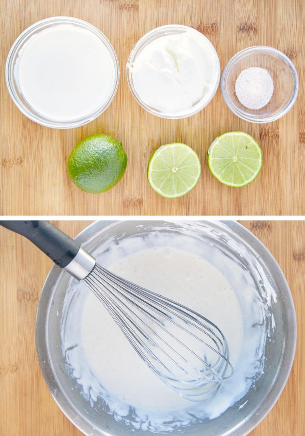2 pictures showing what you need and how to make lime creama