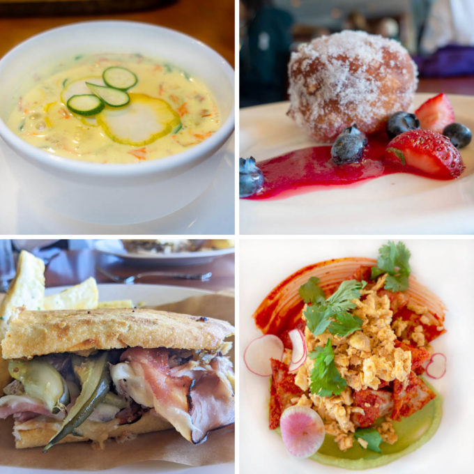 four images of food served on the safari endeavour