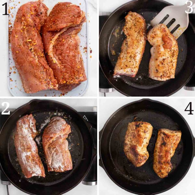 four images showing how to prepare the peppered pork tenderloin