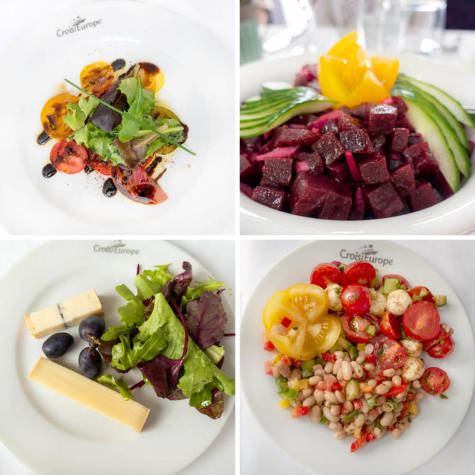4 different images of salads on our croisieurope cruise