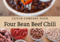 Pinterest image for four been beef chili